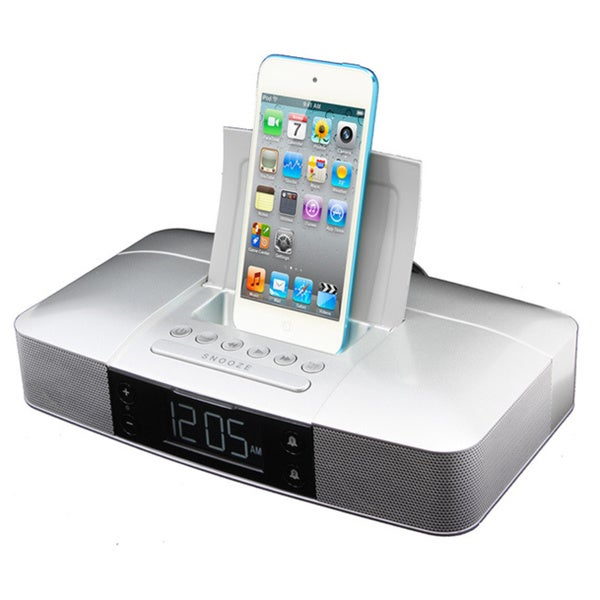 capello stereo fm clock alarm radio with lightning dock for iphone 5 5s and 6. Black Bedroom Furniture Sets. Home Design Ideas