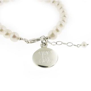 Sterling Silver and Freshwater Pearl with Personalized Round Disc Bracelet (Thailand)