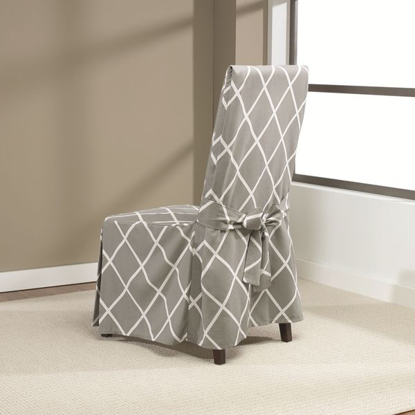 Awesome Sure Fit Lattice Dining Room Chair Slipcover With Ties