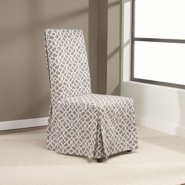 Charming Sure Fit Iron Gate Dining Room Chair Slipcover With Ties