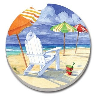 CounterArt Beach Umbrellas Absorbent Stone Car Coaster (Set of 2)