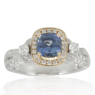 Suzy Levian 14K Two-Tone White Yellow Diamond Blue Sapphire Ring