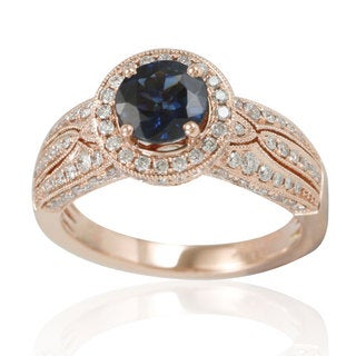Suzy Levian 14K Rose White Diamonds Kancha Sapphire - Blue