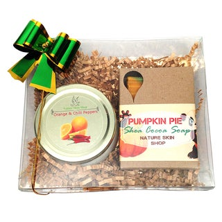 Orange Chili Peppers Candle and Pumpkin Pie Soap Gift Set