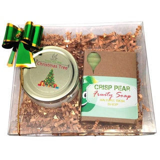 Christmas Tree Candle and Crisp Pear Soap Gift Set