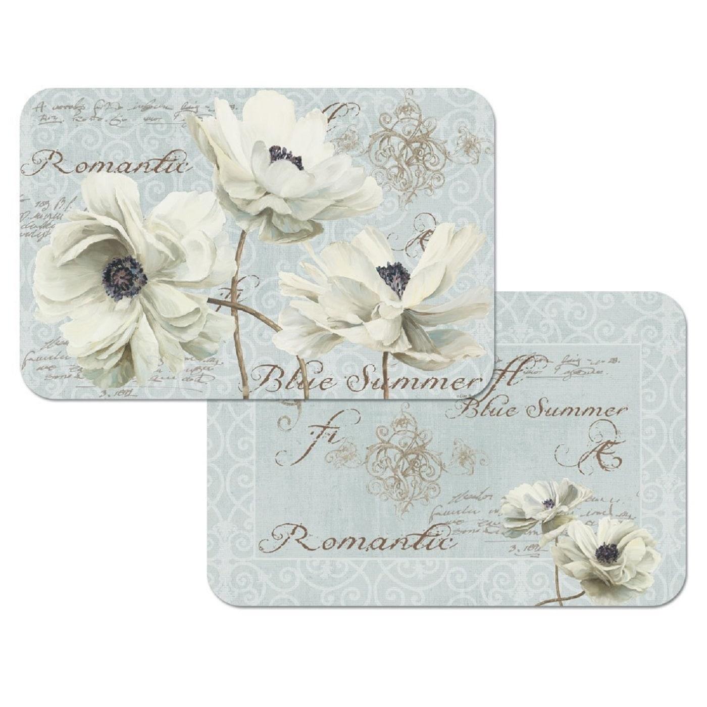 Reversible Plastic Wipe Clean Blue Summer Flowers Placema...