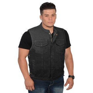 Men's Side Lace Up Denim Club Vest