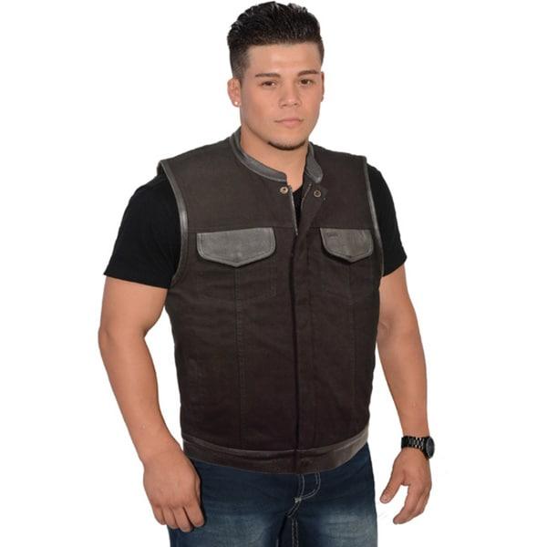 Mens Denim Leather Trim Hidden Zipper Club Vest