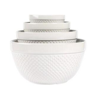 Hobnail Stoneware Mixing Bowls (Set of 4)