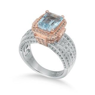 Suzy Levian Two-Tone Sterling Silver 5.83 TCW Blue Topaz Ring