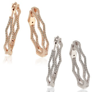 Suzy Levian Cubic Zirconia in Sterling Silver Pave Modern Hoop Earrings