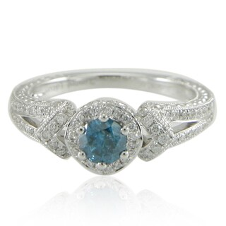 Suzy Levian 14K White Gold 1 tcw Blue Diamond Ring