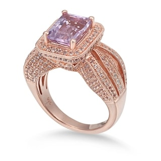 Suzy Levian Sterling Silver 4.3 TCW Pink Amethyst Ring