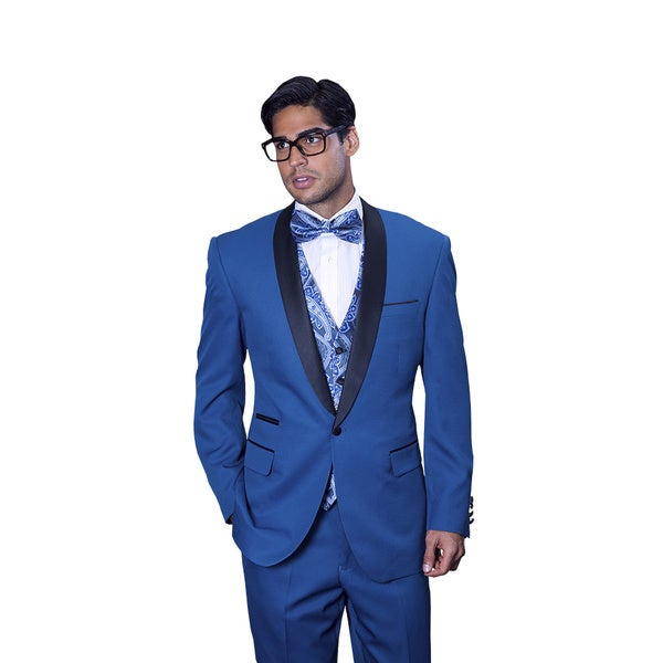 Statement Men's Capri Indigo Tuxedo Suit - Free Shipping Today ...