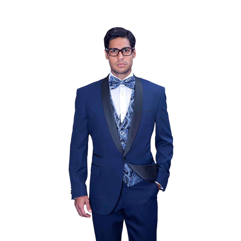 Statement Men's Capri Navy (Blue) Tuxedo Suit (52R) (wool...