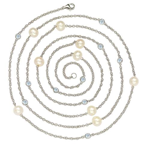 """Suzy Levian Sterling Silver Bezel Sapphire and Pearl By-the-Yard 46"""" Station Necklace - White"""