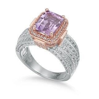 Suzy Levian Two-Tone Sterling Silver 4.88 TCW Pink Amethyst