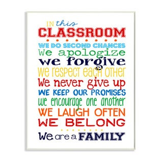 Stupell In This Classroom Rules Typography Art Wall Plaque