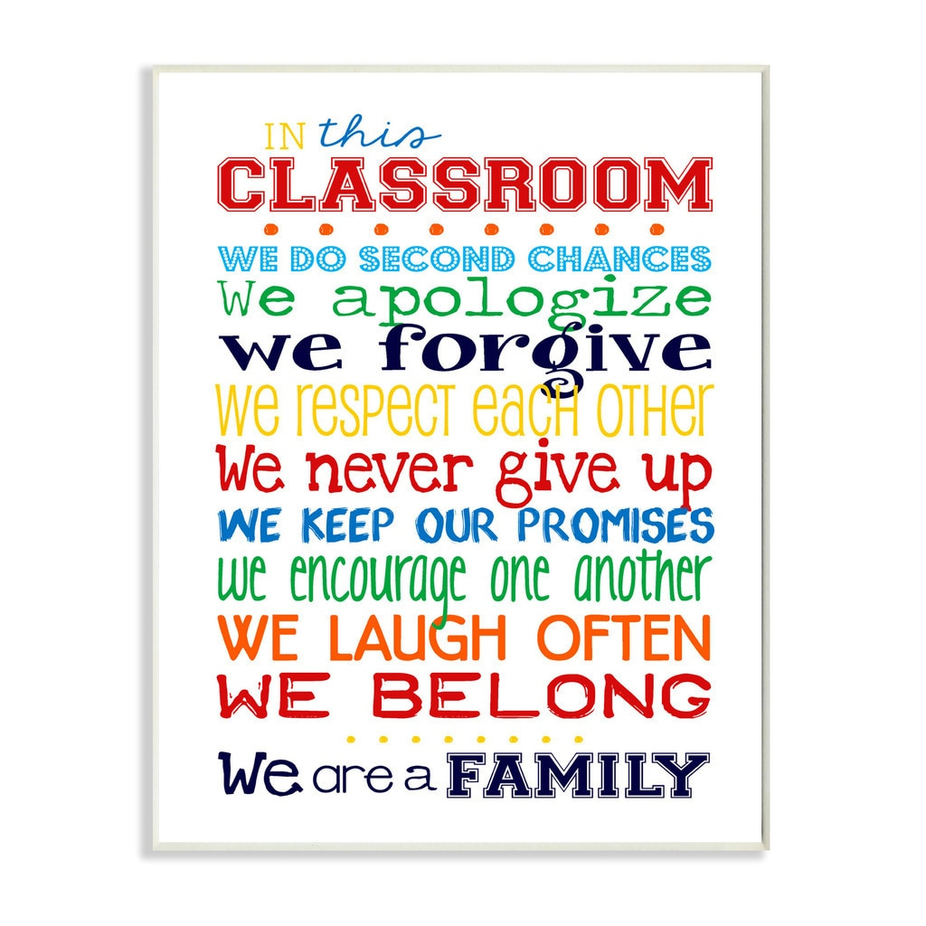 Stupell In This Classroom Rules Typography Art Wall Plaqu...