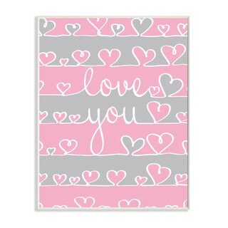 Stupell Love You Pink And Grey Hearts Textual Art Wall Plaque