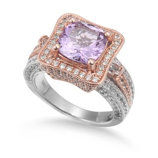 Suzy Levian Two-Tone Sterling Silver 5.57 cttw Cushion cut Pink Amethyst Ring