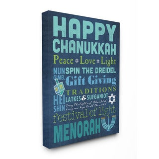 Stupell Happy Chanukah Holiday Typography Art 16 x 20 Canvas