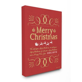 Stupell Merry Christmas Holiday Typography Art 16 x 20 Canvas