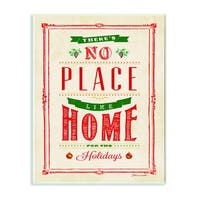Stupell No Place Like Home for the Holidays Typography Art Wall Plaque