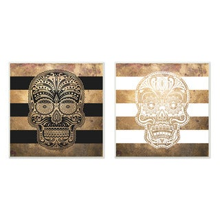 Stupell Sugar Skulls Boho Golds Graphic Wall Plaque 2-piece Set