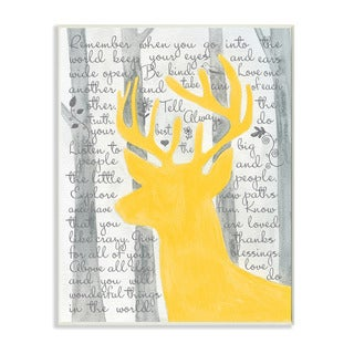 Stupell Remember When You Go Into the World Deer Silhouette Art Wall Plaque