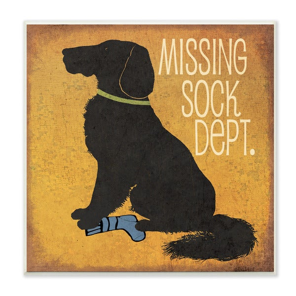 Stupell Missing Sock Dept. and Dog Textual Art Wall Plaque