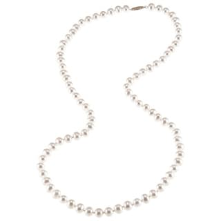 DaVonna 14k Yellow Gold 6.5-7mm White Semi round Freshwater Pearl Necklace