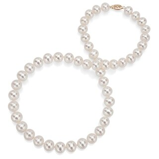 DaVonna 14k Yellow Gold 6-7mm White Freshwater Pearl Necklace