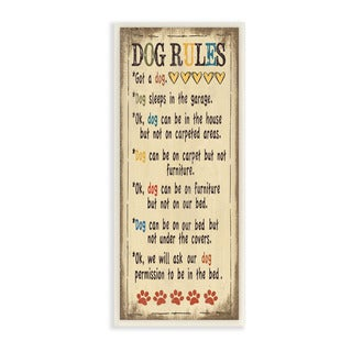 Stupell Dog Rules Colorful Typography Art Wall Plaque