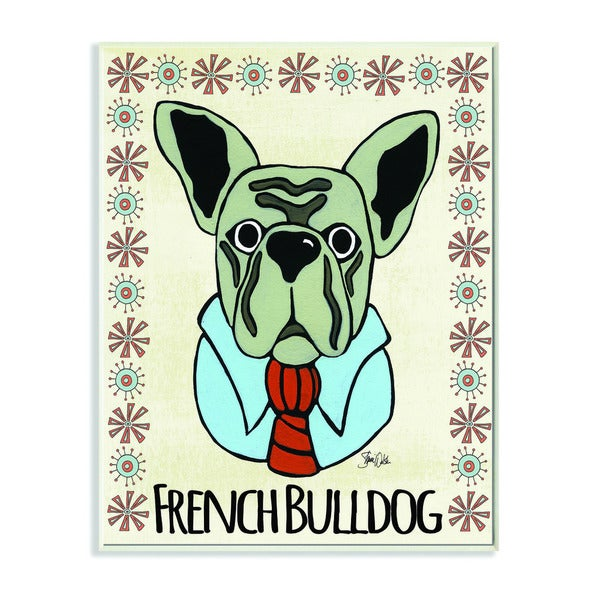 Stupell Whimsical French Bulldog Wearing Tie Wall Plaque