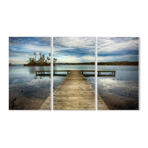 Stupell Dock Overlooking Island 3-piece Triptych Wall Plaque Set