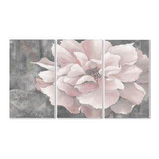 Stupell Pastel Pink Peony on Grey Triptych Wall Plaque Set (Set of 3)