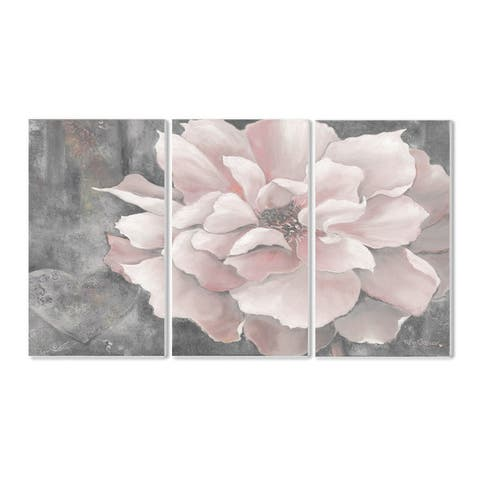 Stupell Pastel Pink Peony on Grey 3-piece Triptych Wall Plaque Set