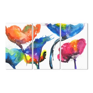 Stupell Painted Look Rainbow Poppy Flowers 3-piece Triptych Wall Plaque Set