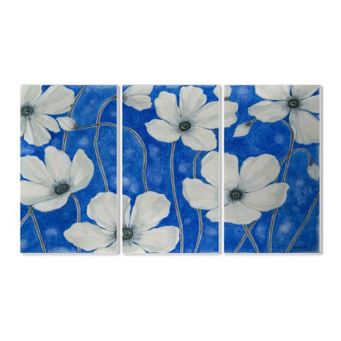 Stupell White Petals on Blue' 3-piece Triptych Wall Plaque Set - 3 piece/Blue/White