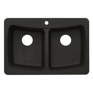 Dual Mount Granite 33-inch 3-Hole Double Bowl Kitchen Sink in Metallic Black