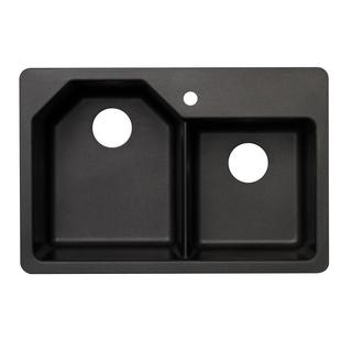 Pegasus Dual Mount Granite-inch 1-Hole Offset Double Bowl Kitchen Sink in Metallic Black