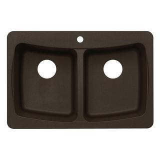 Dual Mount Granite-inch 3-Hole Double Bowl Kitchen Sink in Metallic Chocolate