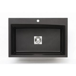 Pegasus Dual Mount Granite 33-inch 1-Hole Large Single Bowl Kitchen Sink in Metallic Black