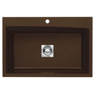 Pegasus Dual Mount Granite 33-inch 1-Hole Large Single Bowl Kitchen Sink in Metallic Chocolate