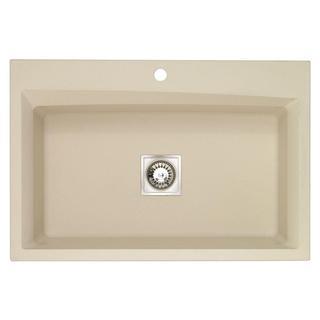 Pegasus Dual Mount Granite-inch 1-Hole Large Single Bowl Kitchen Sink in Sahara Beige