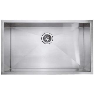 Zero Radius Undercounter Stainless-Steel 29.5-inch x 16.5-inch Single Bowl Kitchen Sink in Satin