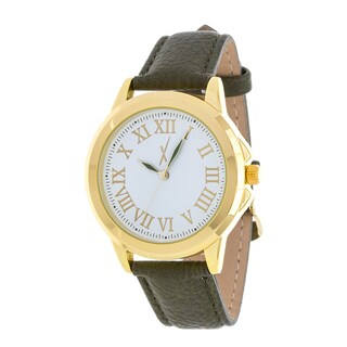 Xtreme Men's Gold Case and Silver Dial / Green Leather Strap Watch