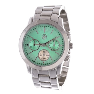 Fortune NYC Boyfriend Silver Case Green Dial / Silver Strap Watch