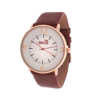 Van Sicklen Men's Antique Gold Case / Brown Leather Strap Watch